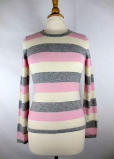 2d46d0e08ff BANANA REPUBLIC Pink White Gray Striped Cashmere Sweater Sz S Small   BananaRepublic  Crewneck Grey