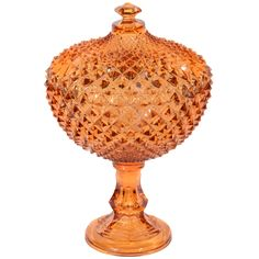 Exquisite Stylized Amber Glass Footed Bowl/Covered Compote.1940s
