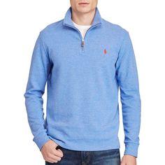 Polo Ralph Lauren Half-Zip Pullover Sweatshirt ($89) ❤ liked on Polyvore featuring men's fashion, men's clothing, men's hoodies, men's sweatshirts, dockside blue heather, mens blue sweatshirt and mens half zip sweatshirt