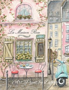 Adorable Paris cafe print - is now available in coral - to go with today's popular coral and gray nurseries and girl's rooms.