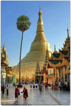 Shwedagon Pagoda, Yangon, Burma, Myanmar (ex Birmania) Places Around The World, Oh The Places You'll Go, Travel Around The World, Places To Travel, Places To Visit, Around The Worlds, Travel Destinations, Vacation Travel, Travel Deals