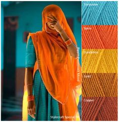 India1 Orange Color Schemes, Yarn Color Combinations, Color Schemes Colour Palettes, Colour Pallete, Color Trends, Color Harmony, Color Balance, Indian Colours, Color Stories