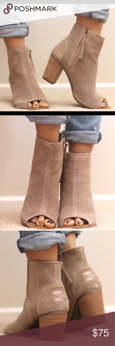 """Tom's Majorca Perforated Suede Booties, Stucco NWT Super Comfortable. 3"""" stacked leather heel. Open toe. Elastic side panel for easy in and out. Exterior side zip. Embossed logo at heel. Leather lining and footbed. Rubber outsole TOMS Shoes Ankle Boots & Booties"""