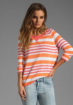 MICHAEL STARS Sweaters 3/4 Sleeve Wide Neck Striped Pullover in Tangerine/Coral