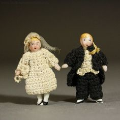 An Amazing Pair of Tiny Dolls Bride and Groom in presentation box - By from belle-epoque-dolls on Ruby Lane