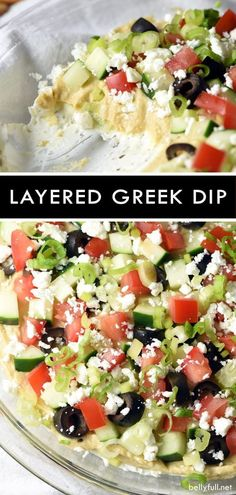 Healthy Recipes Be whisked away to the Mediterranean with this bright, fresh, and delicious Layered Greek Dip! Perfect for a get together or afternoon snack. Super easy and fast to make! Healthy Dip Recipes, Healthy Appetizers, Gourmet Recipes, Appetizer Recipes, Healthy Snacks, Cooking Recipes, Easy Cooking, Cooking Steak, Cheap Recipes