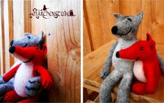 wet felted fox and wolf