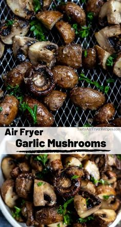 For holiday meals or weeknight dinners, this Air Fryer Garlic Mushrooms Recipe is great as an easy side dish or topping. Similar to sautéed mushrooms but air fried for that great texture. These mushro Air Fryer Recipes Snacks, Air Fryer Recipes Breakfast, Air Fryer Dinner Recipes, Low Carb Side Dishes, Side Dishes Easy, Side Dish Recipes, Pork Chop Side Dishes, Sides For Pork Chops, Keto Recipes