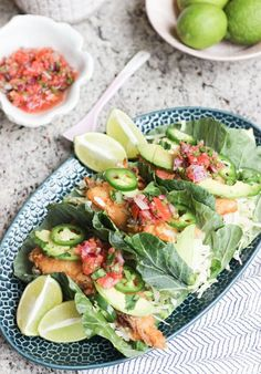 Whole30 Baja Fish Tacos Recipe via Wicked Spatula