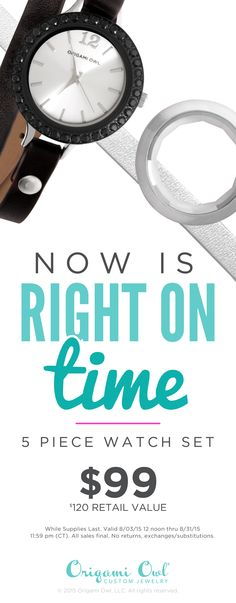 #OrigamiOwl leather wrap bracelet #watch with interchangeable faces make the perfect #gift. SHOP - SELL - PARTY