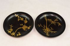 1964 Pair of Thanhley Hand Painted Lacquer Vietnamese/Vietnam Art Deco Bowls