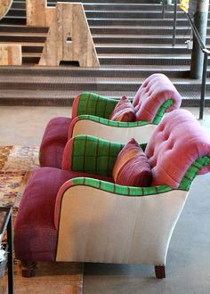oooooooo...just seen these fabaroony chairs on Apartment therapy bloog. Acacia Lounge Chairs at Cisco Brothers made of Kantha quilts