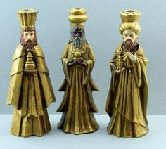 Three Kings Wisemen Magi Christmas Taper by QueeniesCollectibles, $22.99 3 Reyes, We Three Kings, Star Of Bethlehem, Polymer Clay Figures, Cobalt Glass, Three Wise Men, Epiphany, Hearth, Christmas Time