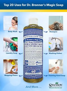 Bronner's Uses: Top 20 Castile Soap Uses uses for dr bronners liquid castile soap House Cleaning Tips, Diy Cleaning Products, Cleaning Solutions, Spring Cleaning, Cleaning Hacks, Diy Hacks, Makeup Products, All Natural Cleaning Products, Natural Cleaning Recipes