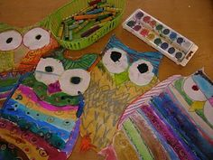 first grade Owls.  Line/color.  Art Elements  story This is Owl by Kayleigh   Concepts: city vs. forest and friendship