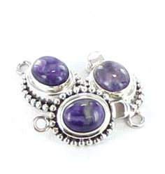 RUSSIAN CHAROITE 10x8mm OVAL STERLING CLASP DOT DESIGN from New World Gems
