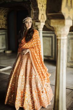 Outfit Ideas To Be The Perfect Bride Ever Wedding Ceremony in orange lehenga Indian Wedding Outfits, Bridal Outfits, Indian Outfits, Bridal Dresses, Indian Clothes, Anita Dongre, Indian Attire, Indian Ethnic Wear, Indian Style