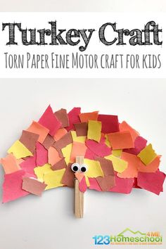Torn Paper Turkey Craft - SUPER CUTE, simple, and fun-to-make turkey craft for kids. This is great for toddler, preschool, or kindergarten age kids for Thanksgiving or the month of November Turkey Crafts For Preschool, Thanksgiving Crafts For Toddlers, Kindergarten Crafts, Crafts For Kids To Make, Thanksgiving Crafts For Kindergarten, Kids Crafts, Fall Crafts For Preschoolers, Preschooler Crafts, Homeschool Kindergarten