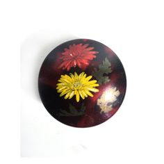 Red Burgundy Lacquered Box with Yellow Flower Hand Painted, Pill Box, Chinoiserie Asian Art
