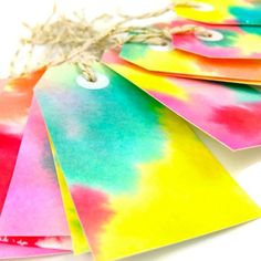 Handmade Rainbow Watercolor Gift Tags. Hang Tags. OOAK Gift Tags | Todo Papel | Color Lace Paper Doilies & Pretty Stationery