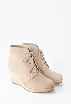 Plus Size Faux Suede Wedge Booties (Wide) | Forever 21 PLUS - 2000179387