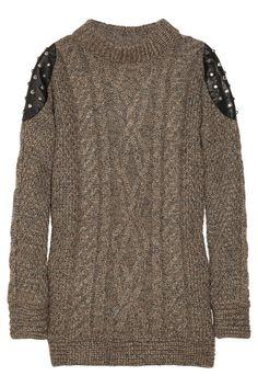 Elizabeth and James studded leather-paneled sweater
