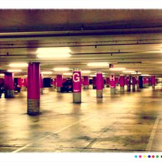 My kind of carpark. Empty and Purple