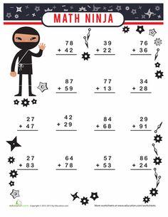 Second Grade Addition Worksheets: Math Ninja Fun Math Worksheets, Addition Worksheets, 1st Grade Worksheets, Math Minutes, Math Fact Practice, Maths Paper, Second Grade Math, Grade 3, Kindergarten