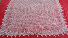 A beautiful and lacy christening blanket . Light , etheral and incredibly soft.  This lovely hand knit baby blanket made of 100% merino wool is perfect for your precious baby or as a gift.  Pattern Echo flowre shawl by It´s lace - weight approx. 100 gr  Measures - approx. 120cm()x120cm()  Color - Natural white  Material - merino  Care To keep the shawl beautiful you should only handwash it in warm water with a delicate soap.Gently squeeze out water without twisting. Rinse in water of the…