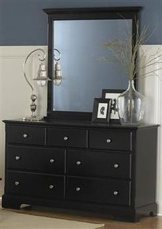 Morelle Black Wood Glass Dresser & Mirror | Bedrooms | The Classy Home | Best Deal Furniture