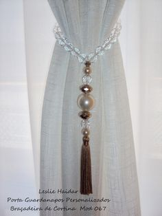 Curtain ties for curtains that hang not pull back Beaded Curtains, Curtains With Blinds, Drapes Curtains, Curtain Holder, Curtain Tie Backs, Rideaux Shabby Chic, Curtain Accessories, Window Dressings, Curtain Designs