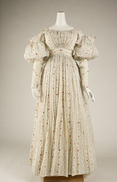 Morning Dress: circa 1827, British, cotton.