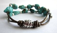 Infinity Leather Link Turquoise Bracelet by TheSecondMarshmallow, $20.00