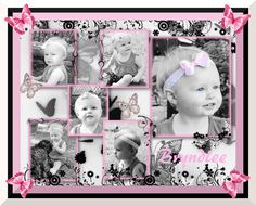 Photo collage scrap book style done in HP photo creations, paint, and gimp 2. One of the photos has been done with selective or hand colorization, but they are all black and white pictures of my baby from her first birthday photo shoot.