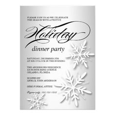 32 best corporate holiday party invitations images on pinterest a holiday dinner party invitation with white snowflakes against a shiny silver white background stopboris Images