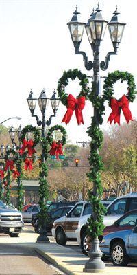 Downtown Decorations - Pine Wreath Pole Decorations - Commercial ...