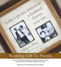 Personalized Wedding Photo Frames For Parents : ... Personalized Wedding Frame, 16 X 16 Parent Wedding Gifts, Wedding