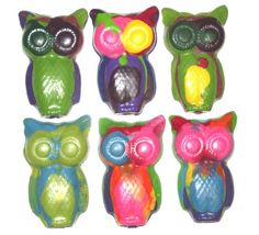 Recycled Rainbow Owl Crayons - Set of 9 / Birthday Party Favors / Kids Gift / Hoot Hoot / Eco on Etsy, $6.00