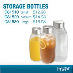 """Storage Bottles From Regal High-quality, versatile storage container is air-tight, leak-proof and BPA-free! Perfect for nuts, grains, candy, juice...even paper clips or elastics. Clear plastic, with brushed stainless steel lid and silicone ring for a tight seal. Dishwasher safe. Large holds 1.6L / 55oz.. 10-1/4""""H x 4-1/2""""Diam. Product Number - ID81510 (Small) ID81520 (Medium) - ID81530 (Large)"""