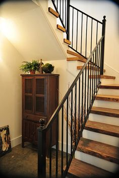 Like the finish on the stairs (white risers with stained tops) and the dark iron railing Basement Stairs, Basement Ideas, Diy Home Decor On A Budget, Diy Room Decor, Interior Decorating, Decorating Ideas, Interior Design, Cottage Stairs, Shiplap Bathroom