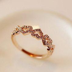 Moda Diamanted Ljubav Heart Zlatni Alloy Band Ring (Zlatni, Srebrni) (1 kom) – USD $ 4.99