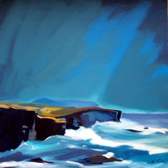 Pam Carter, Cliffs Yesnaby, Orkney  oil 32″x32″