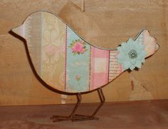 Altered Decoupaged Wooden Bird for Spring. Also did patchwork pattern bird. Wooden Bird, Rusty Metal, Patchwork Patterns, Butterfly Chair, Cottage Homes, Cottage Chic, Decorative Items, Paper Flowers, Decoupage