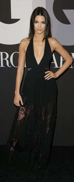 Kendall Jenner in a peek-a-boo lace gown at the Grammys after party.