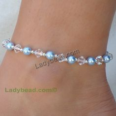 Sterling Silver Beaded Anklet Blue Pearl Crystal #A20