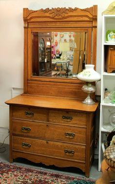 Golden Oak Dresser w Mirror Originally $365, Now $295
