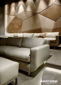 home theater Wall Acoustic Panels - Modern Residence on Head Road 1843 by Antoni Associates in Cape Town. Home Theater Room Design, Home Cinema Room, Home Theater Rooms, Acoustic Wall, Acoustic Panels, Upholstered Wall Panels, Beige Couch, Wall Panel Design, Entertainment Room