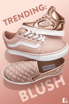 The hot new color of 2017, these blushing beauties have been popping up all over this past year. This ever-so-pale shade of pink is becoming a new neutral and looks great with all your wardrobe staples. From cute high tops for girls to slip ons and sneakers for women, this new hue is trending in a big way across the board.  Perfect Pairing: Blush colored shoes really pop when worn with white jeans!