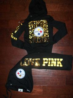 MY FAVORITE!! Victoria's Secret PINK Pittsburgh Steelers NFL Bling Sweatshirt Sweatpant