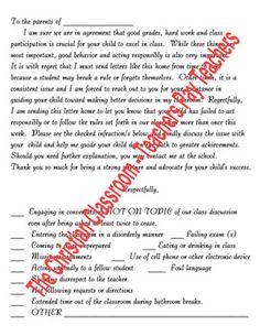poor behavior letter to parent children s parents and behavior bad behavior or unacceptable poor school work letter home to parents